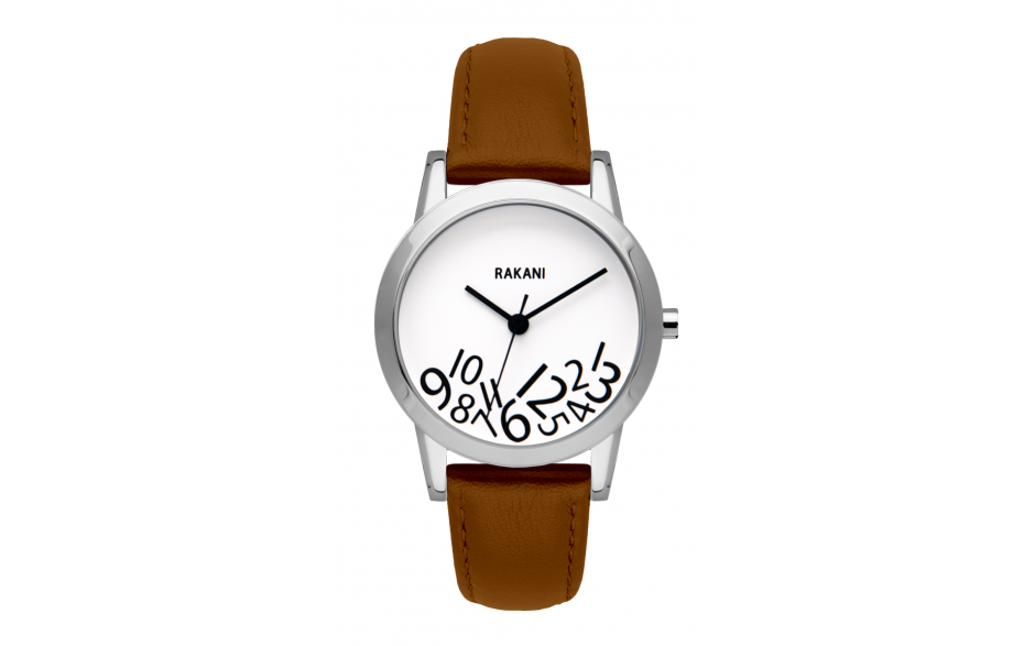 What Time? - Black on White Watch w/ Light Brown Leather (32mm)