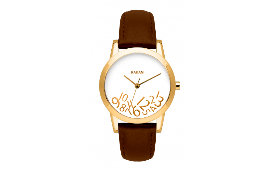 What Time? - Gold on White Watch w/ Dark Brown Leather (32mm)