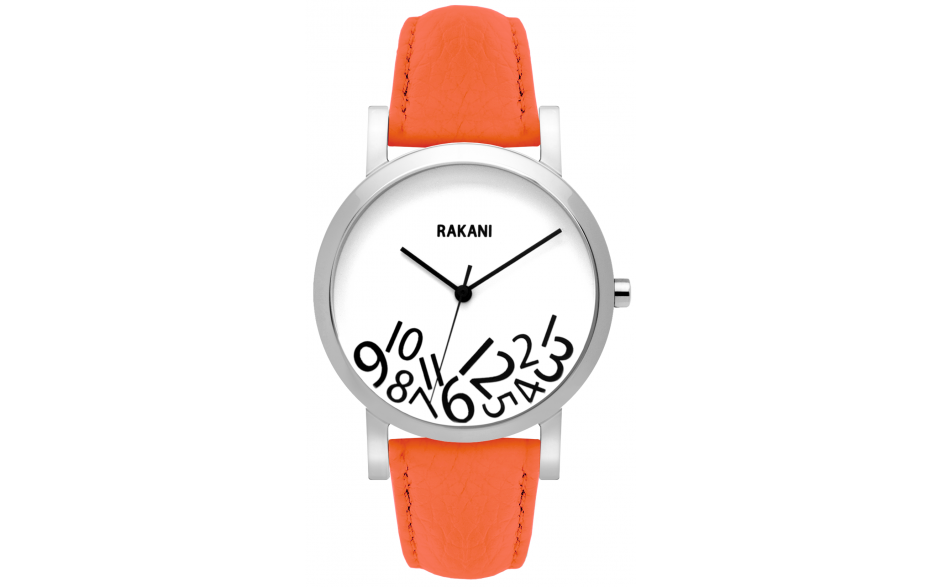 What Time? - Black on White Watch w/ Orange Leather (40mm)
