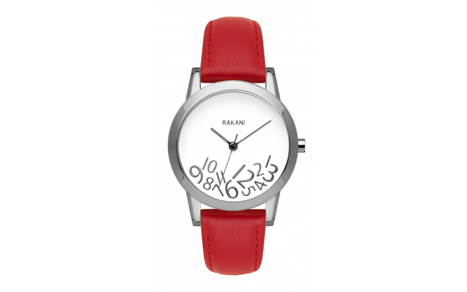 What Time? - Silver on White Watch w/ Red Leather (32mm)