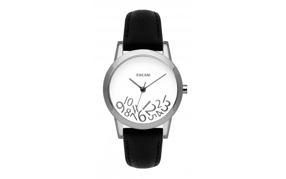 What Time? - Silver on White Watch w/ Black Leather (32mm)