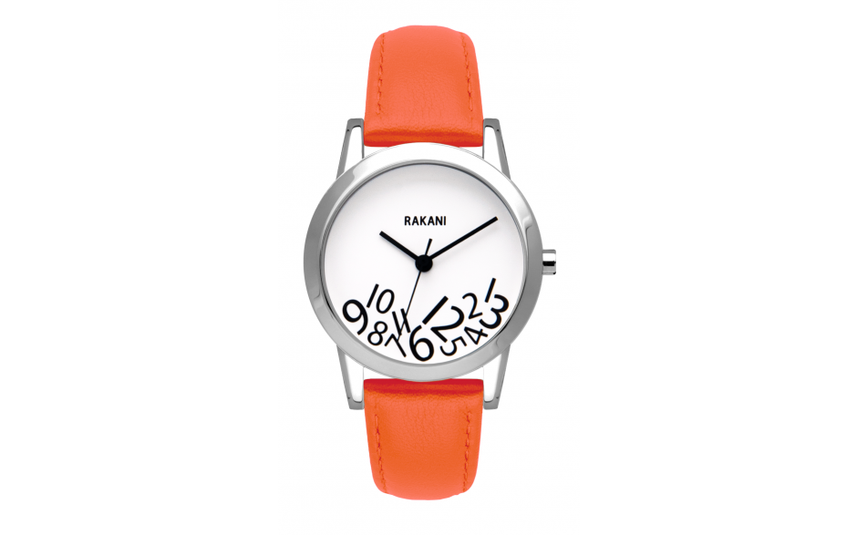 What Time? - Black on White Watch w/ Orange Leather (32mm)