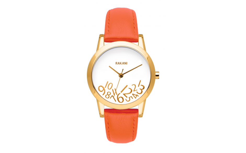 What Time? - Gold on White Watch w/ Orange Leather (32mm)