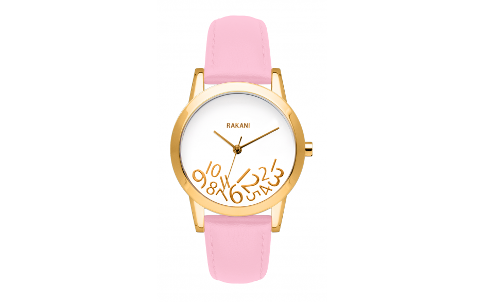 What Time? - Gold on White Watch w/ Pink Rose Leather (32mm)