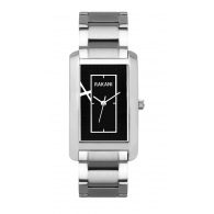 Right Around The Corner - Black Rectangle Watch w/ Stainless Steel (38mm)