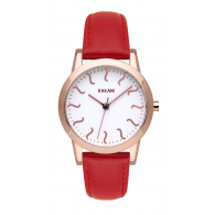 ISH - Rose Gold Watch w/ Red Leather (32mm)