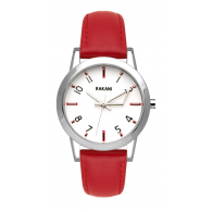 +5 - White Watch w/ Red Leather (32mm)