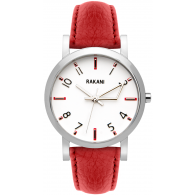 +5 - White Watch w/ Red Leather (40mm)