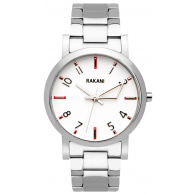 +5 - White Watch w/ Stainless Steel (40mm)