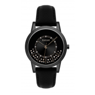 Stuck In Traffic - Swarovski Crystals Watch w/ Black Steel Case and Leather Band (32mm)