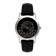 Stuck In Traffic - Swarovski Crystals Watch w/ Black Leather (32mm)
