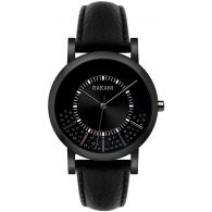 Stuck In Traffic - Black Swarovski Crystals Watch w/ Black Steel Case and Leather Band (40mm)