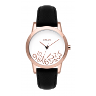What Time? - Rose Gold on White Watch w/ Black Leather (32mm)