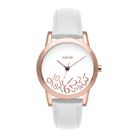 What Time? - Rose Gold on White Watch w/ White Leather (32mm)