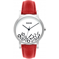 What Time? - Black on White Watch w/ Red Leather (40mm)