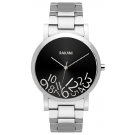 What Time? - Silver on Black Watch w/ Stainless Steel (40mm)