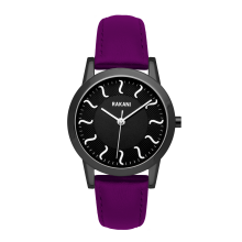 ISH - Black Watch w/ Black Steel Case and Purple Leather (32mm)