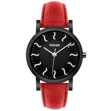 ISH - Black Watch w/ Black Steel Case and Red Leather (40mm)