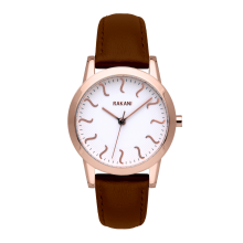 ISH - Rose Gold Watch w/ Dark Brown Leather (32mm)