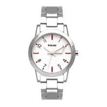 +5 - White Watch w/ Stainless Steel (32mm)