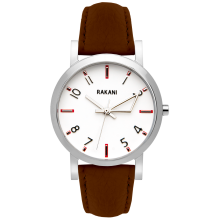 +5 - White Watch w/ Dark Brown Leather (40mm)