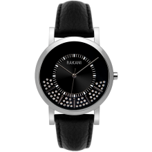 Stuck In Traffic - Swarovski Crystals Watch w/ Black Leather (40mm)