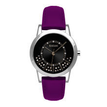 Stuck In Traffic - Swarovski Crystals Watch w/ Purple Leather (32mm)