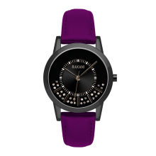 Stuck In Traffic - Swarovski Crystals Watch w/ Black Steel Case and Purple Leather (32mm)