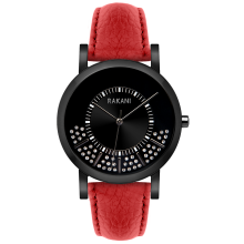 Stuck In Traffic - Swarovski Crystals Watch w/ Black Steel Case and Red Leather (40mm)