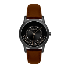 Stuck In Traffic - Swarovski Crystals Watch w/ Black Steel Case and Dark Brown Leather (32mm)