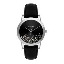 What Time? - Silver on Black Watch w/ Black Leather (32mm)