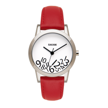 What Time? - Black on White Watch w/ Red Leather (32mm)