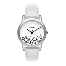 What Time? - Black on White Watch w/ White Leather (32mm)
