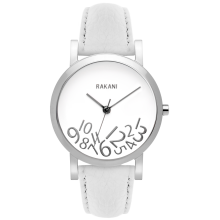 What Time? - Silver on White Watch w/ White Leather (40mm)