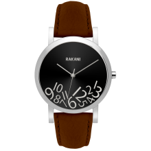 What Time? - Silver on Black Watch w/ Dark Brown Leather (40mm)