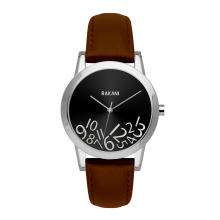 What Time? - Silver on Black Watch w/ Dark Brown Leather (32mm)