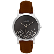 What Time? - Silver on Titanium Watch w/ Dark Brown Leather (40mm)