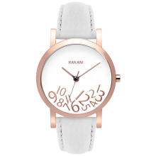 What Time? - Rose Gold on White Watch w/ White Leather (40mm)