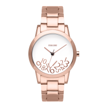 What Time? - Rose Gold on White Watch w/ Rose Gold Steel (32mm)