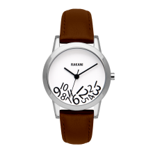 What Time? - Black on White Watch w/ Dark Brown Leather (32mm)
