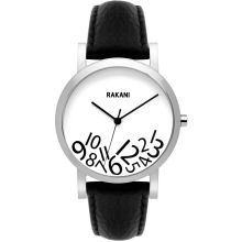 What Time? - Black on White Watch w/ Black Leather (40mm)