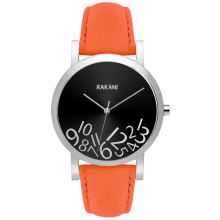 What Time? - Silver on Black Watch w/ Orange Leather (40mm)