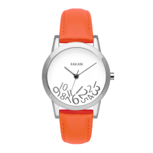 What Time? - Silver on White Watch w/ Orange Leather (32mm)