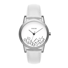 What Time? - Silver on White Watch w/ White Leather (32mm)