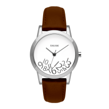 What Time? - Silver on White Watch w/ Dark Brown Leather (32mm)