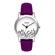 What Time? - Black on White Watch w/ Purple Leather (32mm)