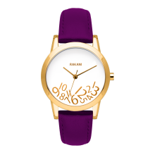 What Time? - Gold on White Watch w/ Purple Leather (32mm)