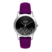 What Time? - Silver on Black Watch w/ Purple Leather (32mm)